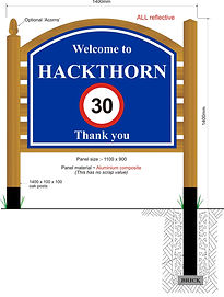 A concept drawing of Hackthorn Village's Welcome Board