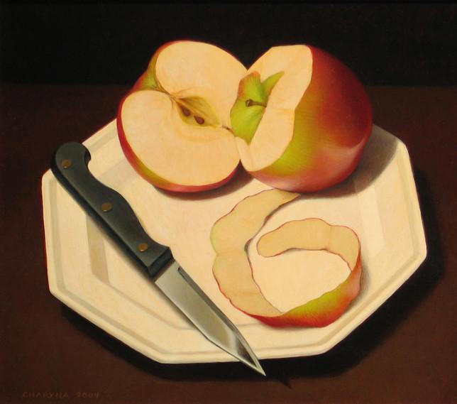 PEELED APPLE WITH KNIFE
