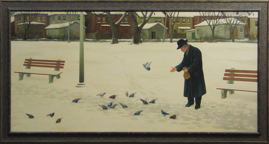 AN AFTERNOON IN THE LAST WINTER OF MY FATHER'S LIFE   Oil   This painting, among 8 others is stolen. The thieves are B. (Bo) Charyna and Venerdina Fazio