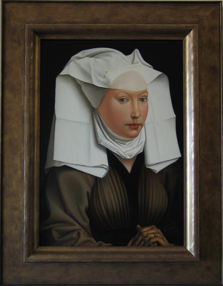 "Rendering of Rogier van der Weyden's ""WOMAN WITH A GAUZE HEADDRESS"" 2009 Oil on Masonite"