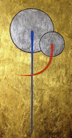 Acrylic and Gold Leaf   What is it? Oh! Please guess, it's an easy one! (clue) it's not two lollipops nor is it two ballons getting friendly
