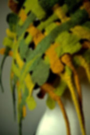 écharpes couleur d'automne en laine feutrée tressée fait main par Rasmania