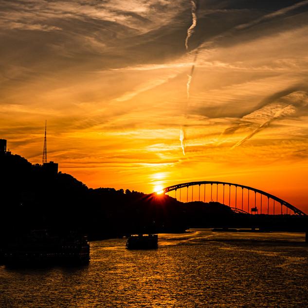 Gold Sunset over Fort Pitt Bridge