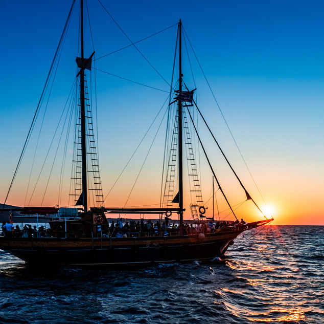 Sailing into the Sunset in Santorini