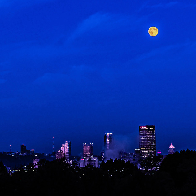 Full Moon Over Pittsburgh Before Dawn