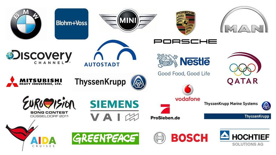 Client List: BMW, Blohm+Voss, Mini, Porsce, Man, Discovery, Autostadt, Nestlé, Mitsubishi, ThyssenKrupp, Vodafone, Eurovision, Siemens, ProSieben, AIDA, Greenpeace, Bosch, Hochtief and more