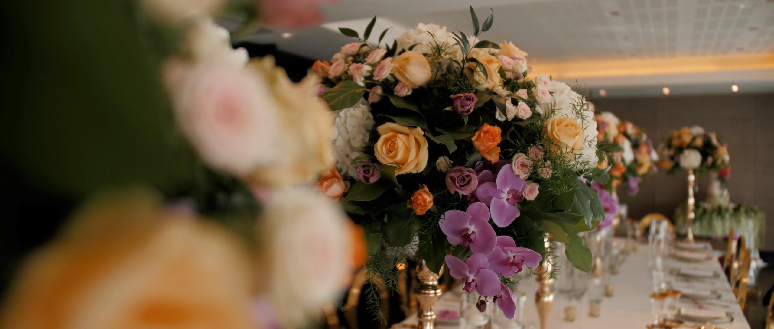 Table flowers aloha london wedding films videographer