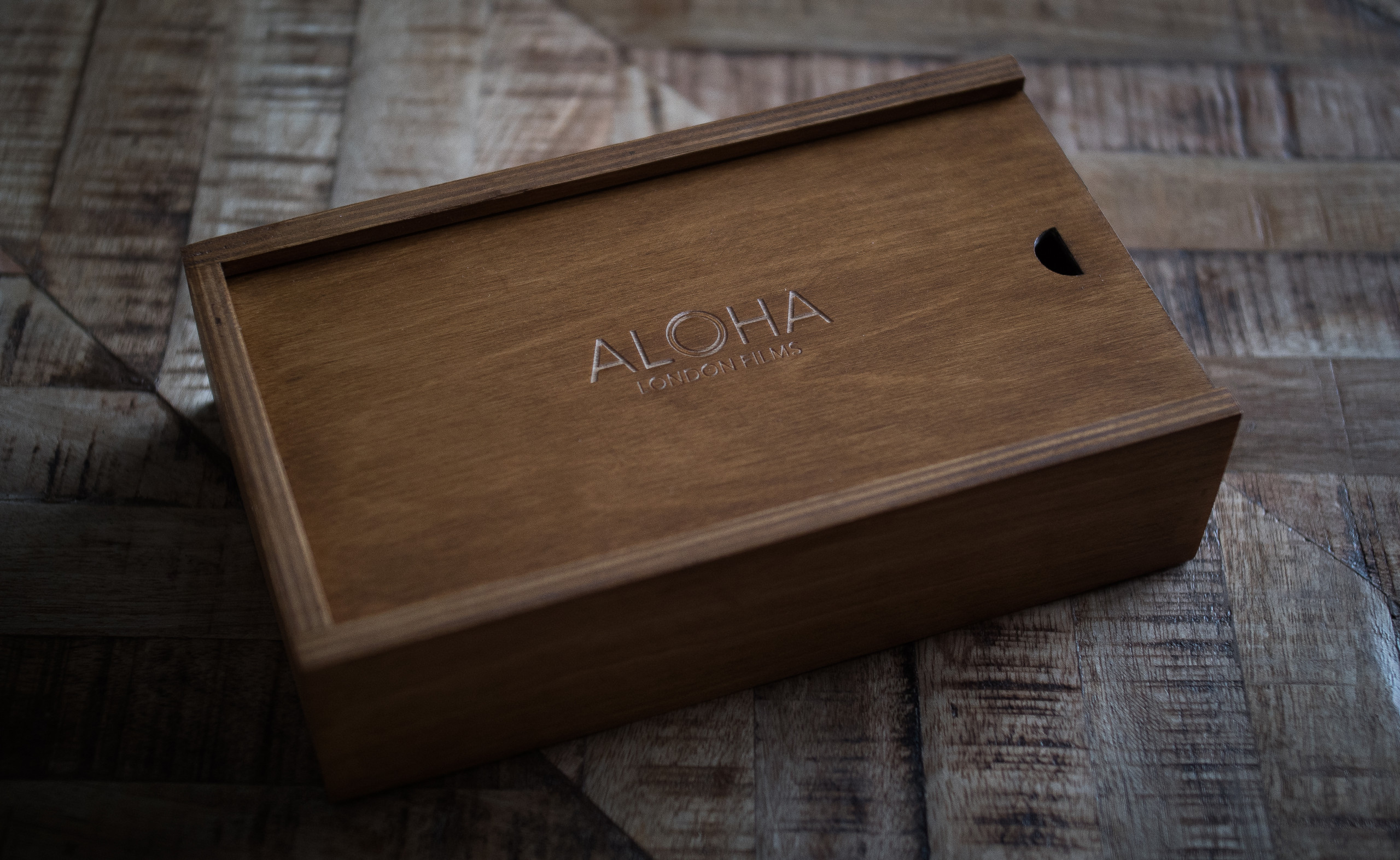 closed wooden wedding usb film box