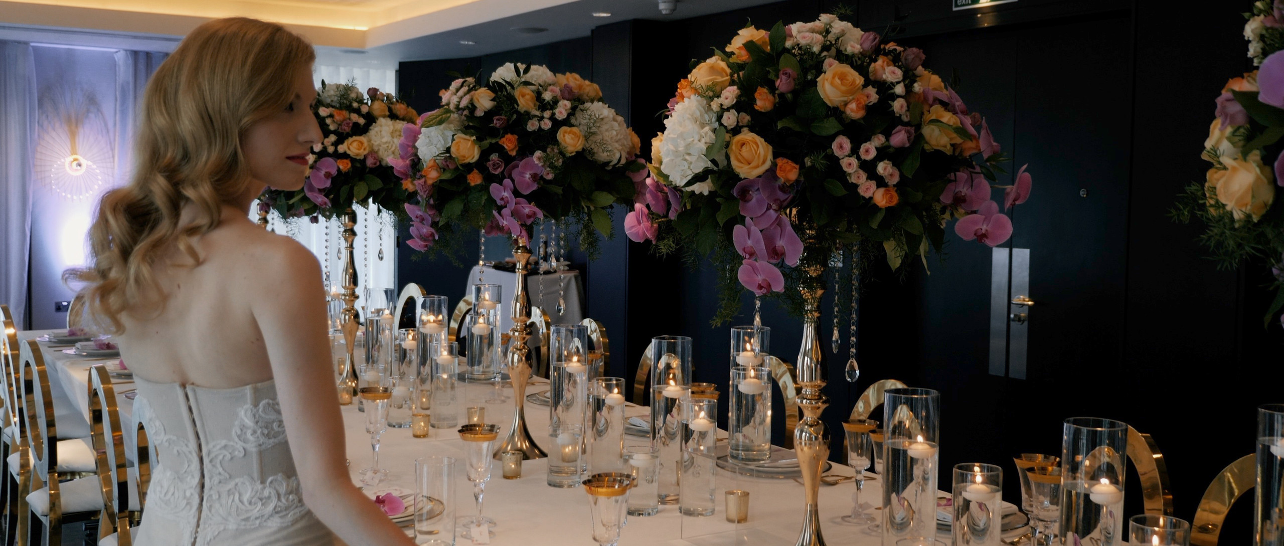 bride checking table london wedding films videographer