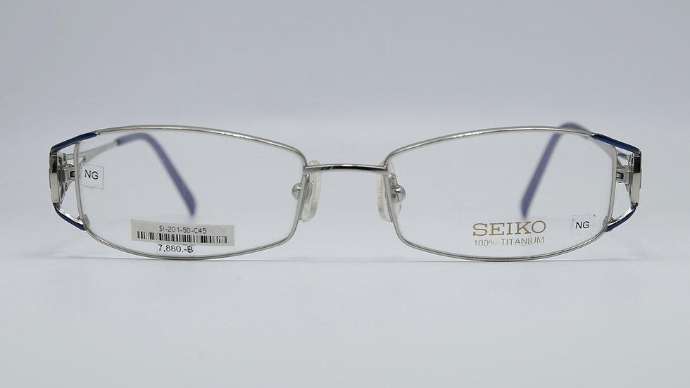 SEIKO รุ่น T201 กว้างกรอบ 50 กว้างจมูก 17 ยาวขา 135 สี เงิน-ฟ้า