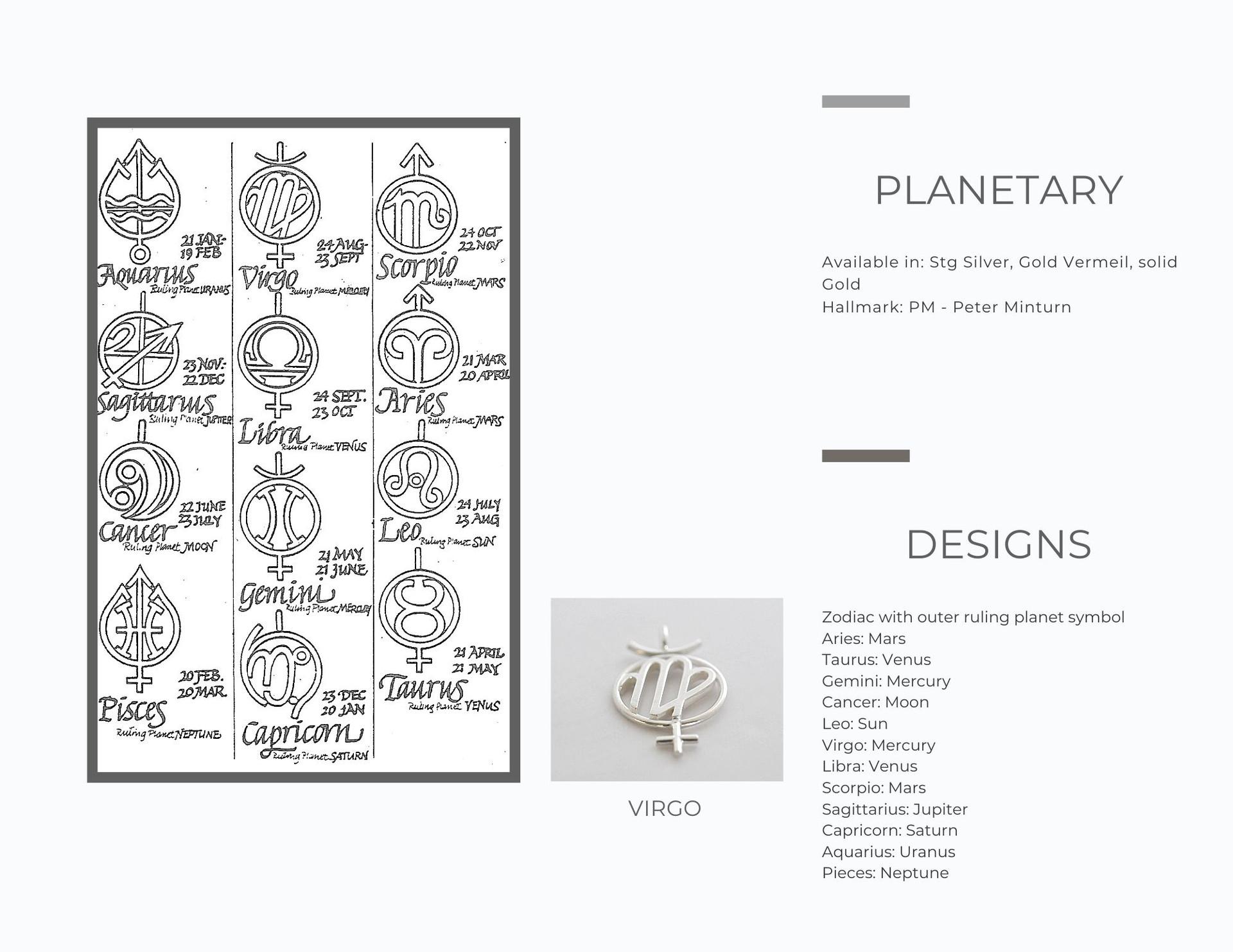 Planetary Zodiac Pendants
