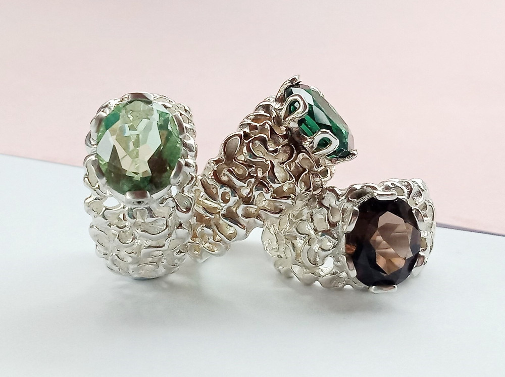 Smoky Quartz, Fluorite and CZ Driftwood Max rings are super comfortable &easy to wear
