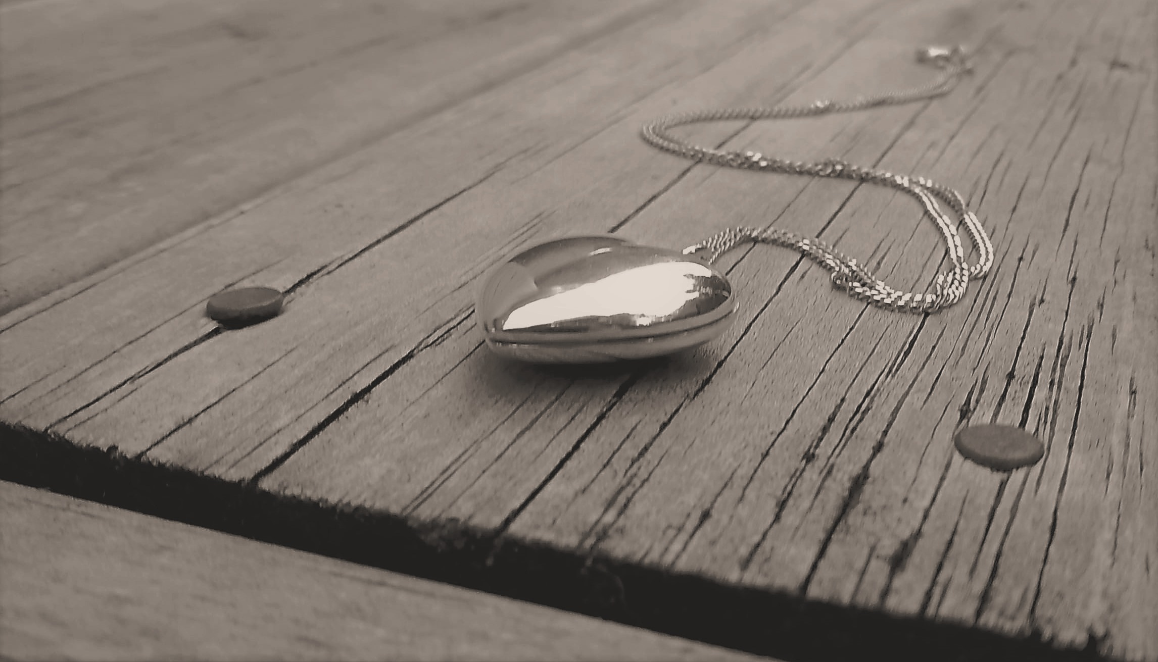 White heart locket