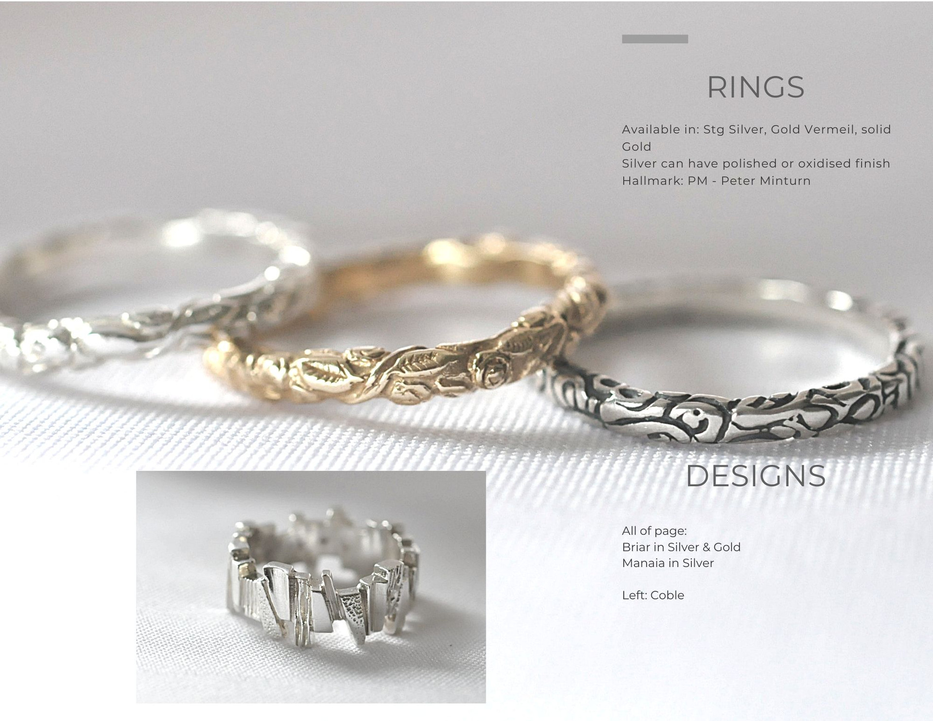 Briar & Coble Band Rings