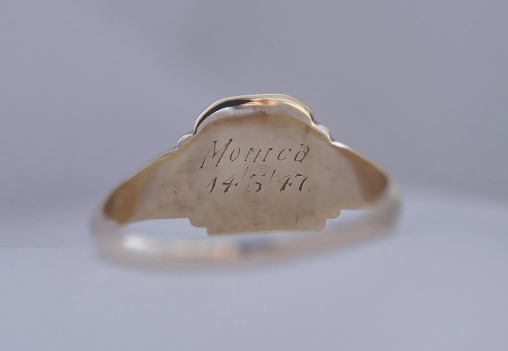 Wearing a ring can be a daily reminder of someone special. A treasured signet ring that sailed the seven seas & a celebration remembrance for March 1947 this signet ring signifies closeness and belonging.