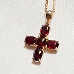Garnet cross pendant
