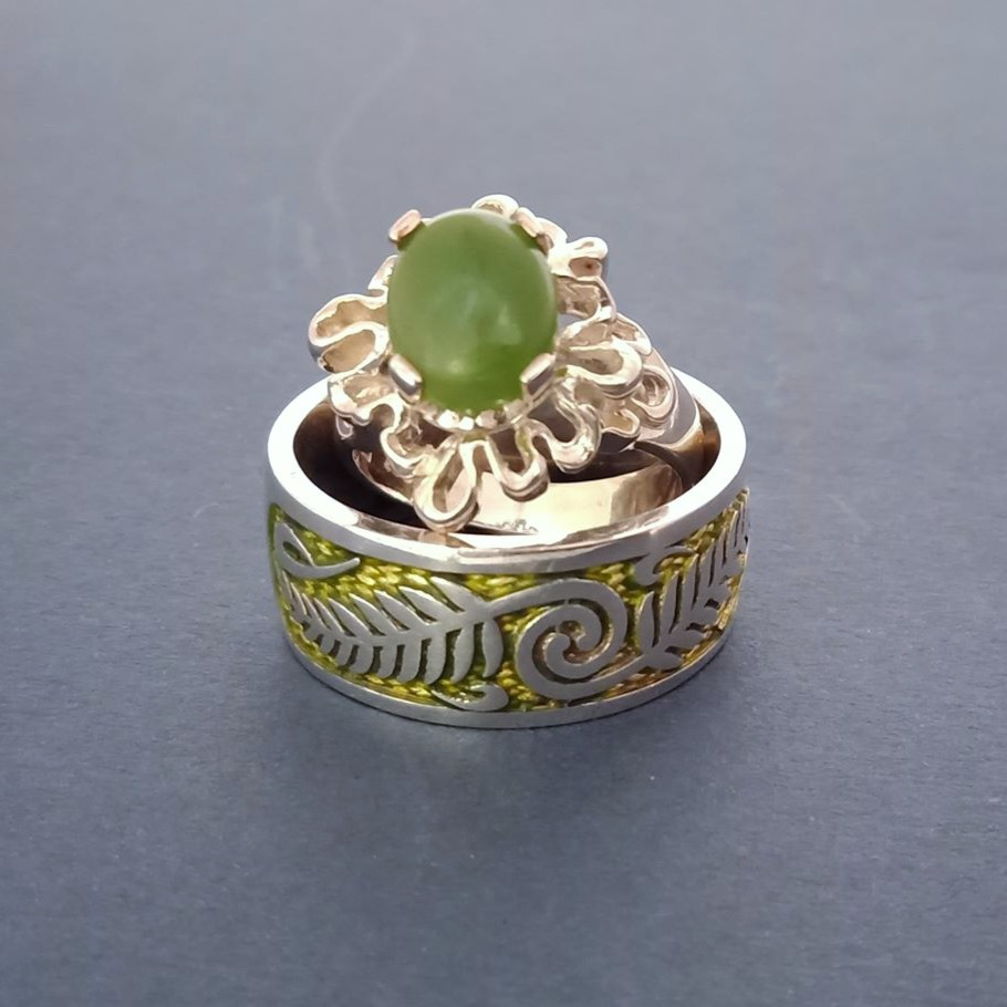 Greenstone Ribbon with Fern ring