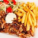 Chawarma accompagné de frites et salade