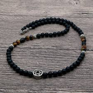 Men's Beaded, Natural Stone Star Of David Necklace