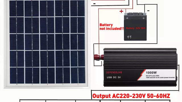 Solar panel, charge controller and inverter.