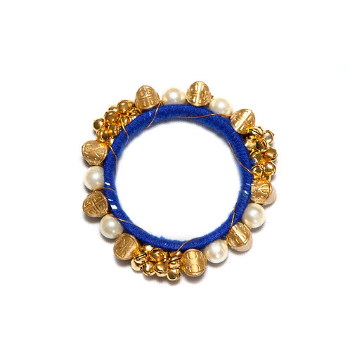 Jodhpur - Indian Pearls and Bells Bangle - Blue