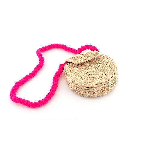Compagna di viaggio - Sand cross body raffia bag with pink strap