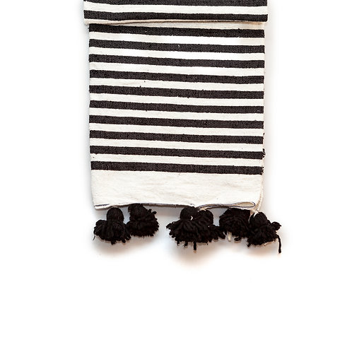 Zebra - Striped Pom Pom Blanket - Black