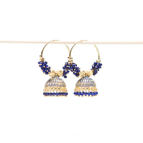 Campanella Blu - Indian Pendant Earrings - Gold and Blue