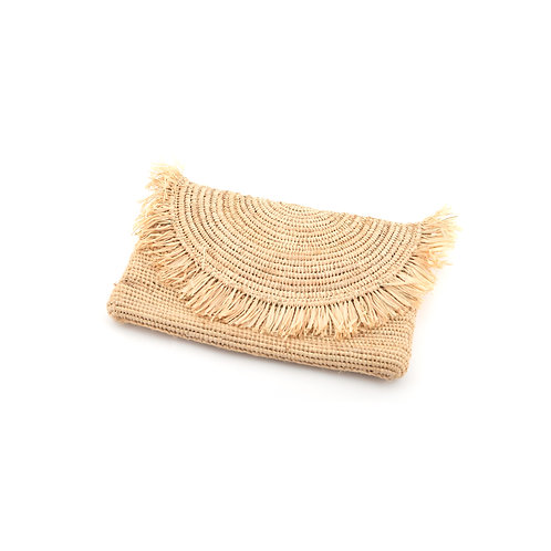 Frangetta - Natural raffia clutch bag