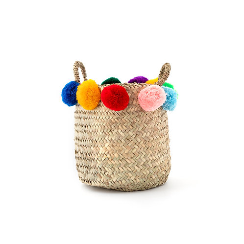 "Cestino 10"" - Straw Basket with pompoms and handles"