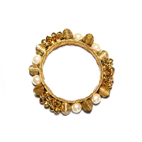 Jaipur - Indian Pearls and Bells Bangle - Gold