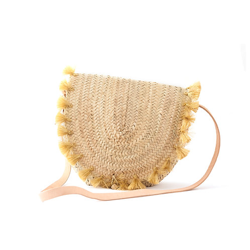 Tracolla Gold - Cross-body straw bag with leather strap and tassels