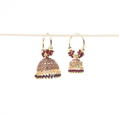 Campanella Bordeaux - Indian Pendant Earrings - Gold and Bordeaux
