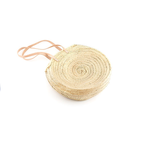 Al mare 2.0 - Round straw bag with leather handles - Natural