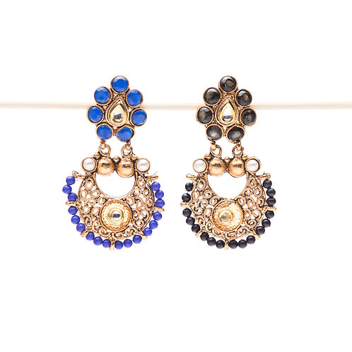 Fiore - Indian Pendant Earrings - Blue or Black