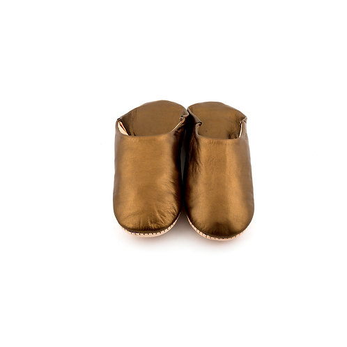 Bronze Babouche - Soft Leather Slippers