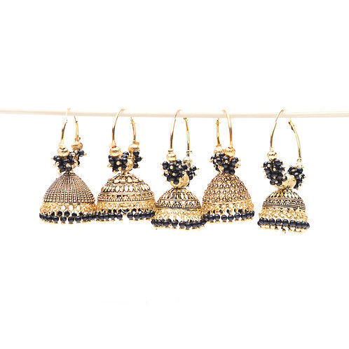 Campanella Nera - Indian Pendant Earrings - Gold and Black