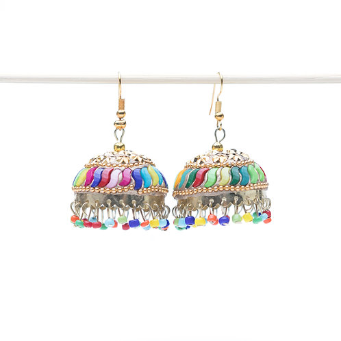 Campanella Sciocca - Indian Pendant Earrings - Gold and Multicolour