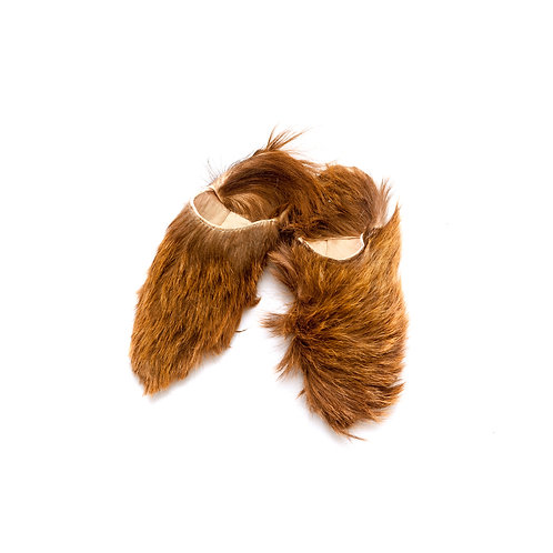 SALE - Orso - Pointed Fur Babouche Slippers - Brown