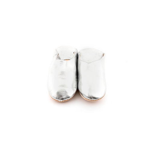 Silver Babouche - Soft Leather Slippers