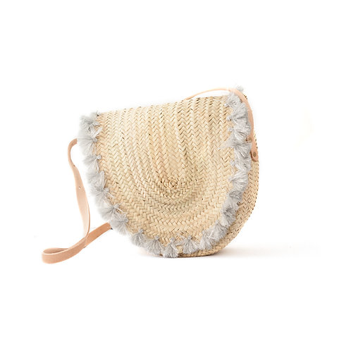 Tracolla Silver- Cross-body straw bag with leather strap and tassels