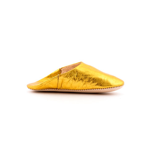 Gold Babouche - Soft Leather Slippers