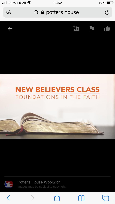 New Believers Class on zoom