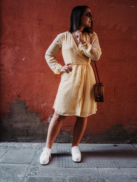 yellow dot dress