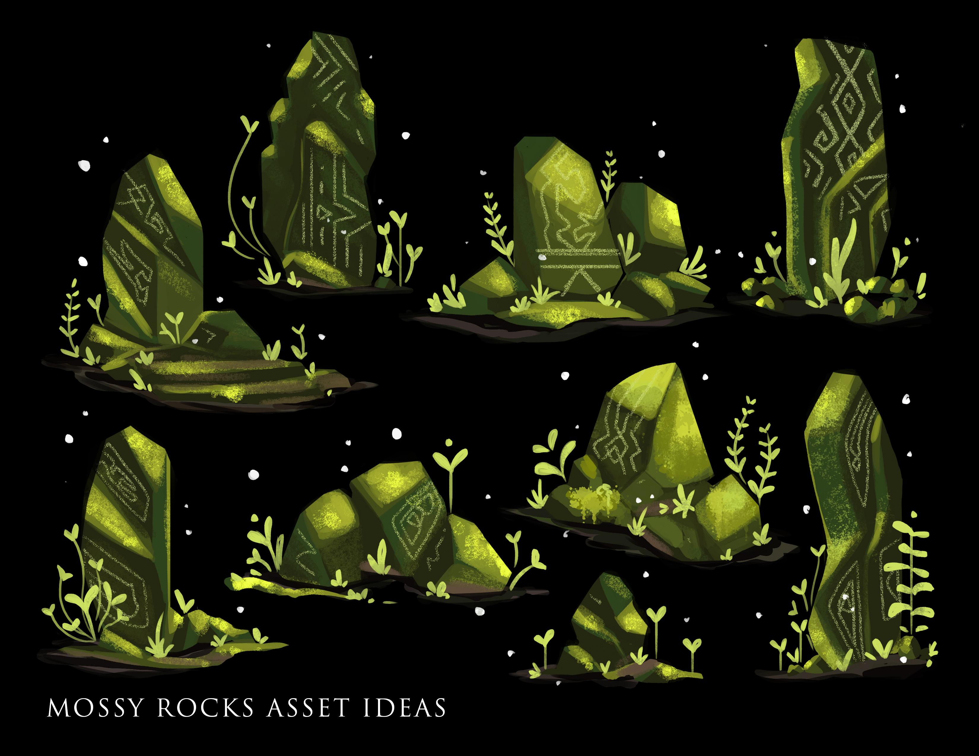 mossy rocks asset concepts