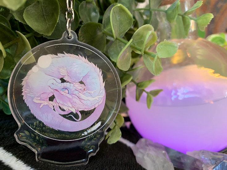 Crystal Ball Dragon Acrylic Charm