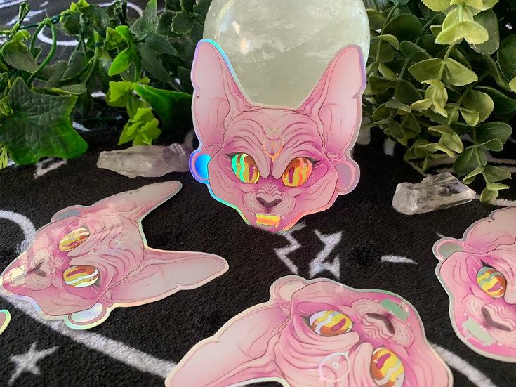Hypnotic Sphynx Holographic vinyl sticker
