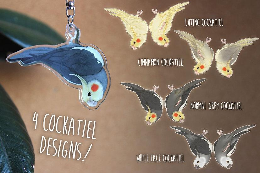 Dangling Cockatiel Buddy Acrylic Charm - 4 DESIGNS