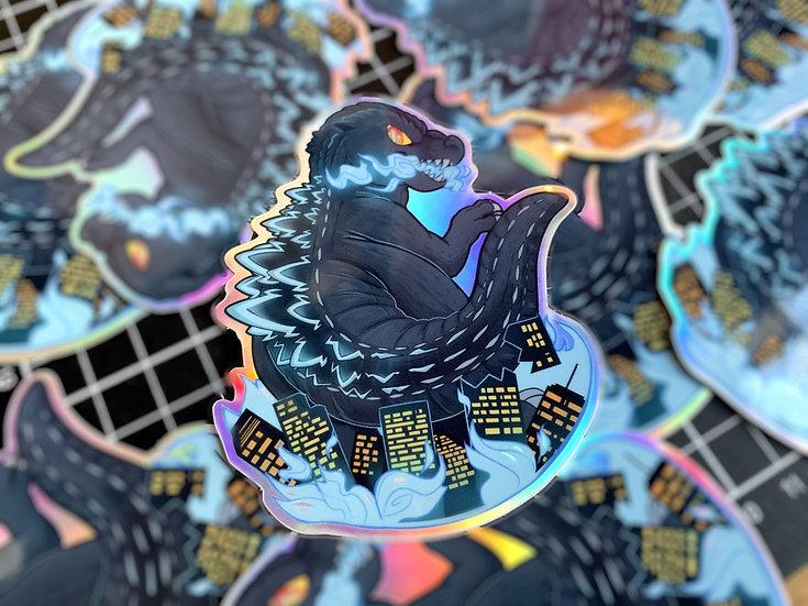 GODZILLA!  Holographic vinyl sticker