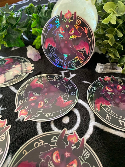 Kawaii Baphomet Holographic vinyl sticker